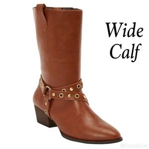 Wide Calf Leather Look Studded Ankle Boots